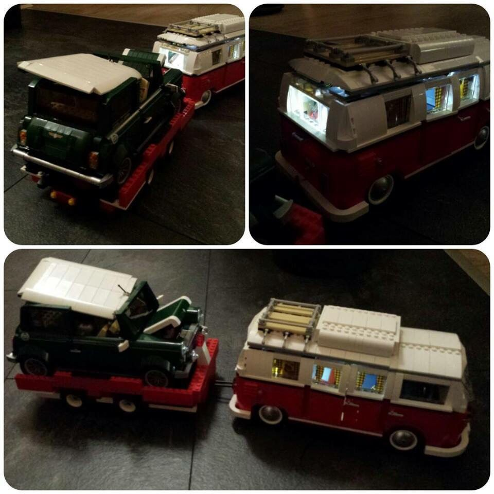 VW bus and wrecked Mini Cooper