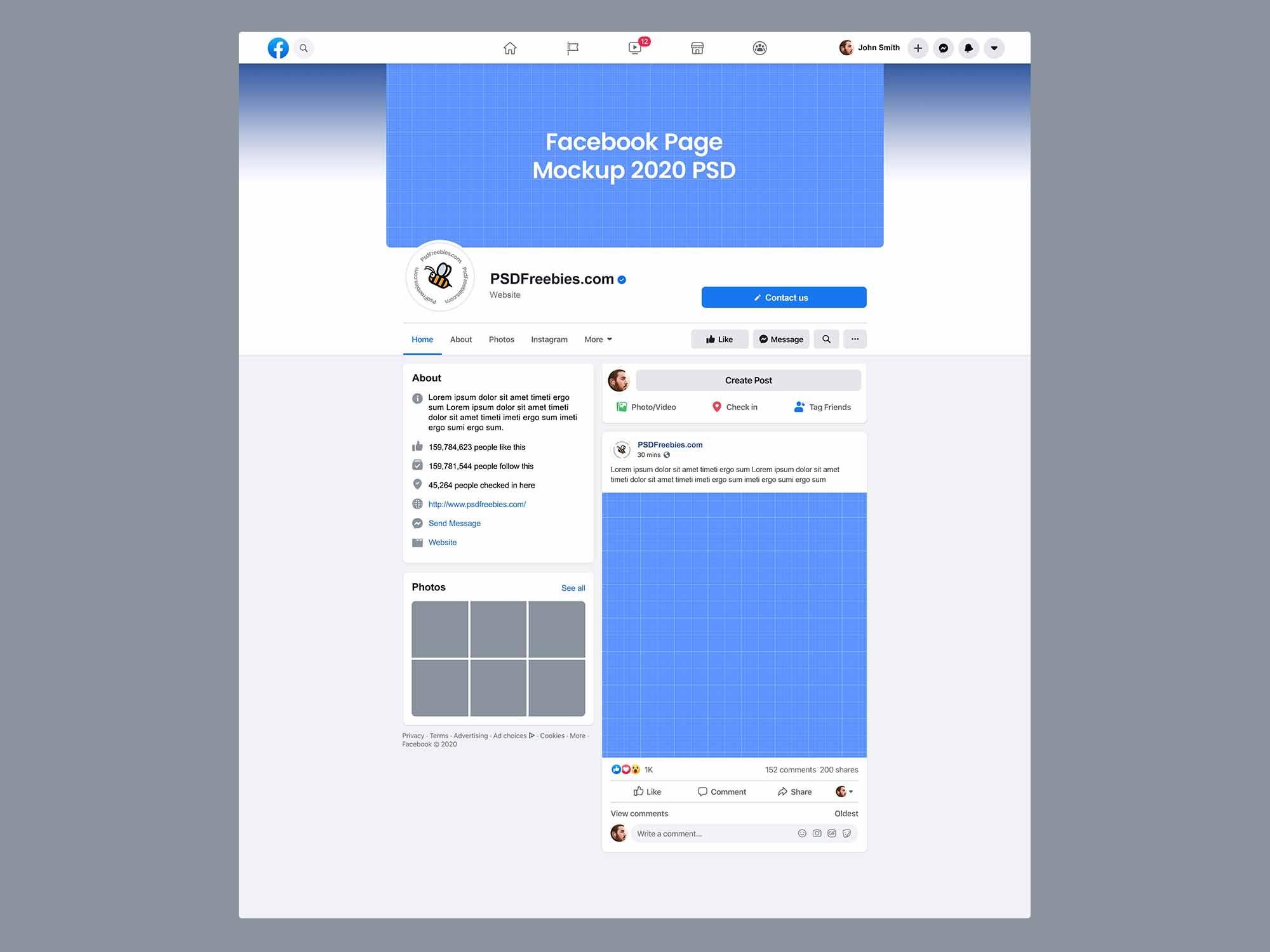 Facebook Page Mockup 2020 New Design Psd Facebook Page Mockup Business Card Mock Up Mockup