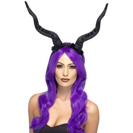 Negro Demonio cuernos maléfica Fancy Dress Accesorio en Diadema Halloween