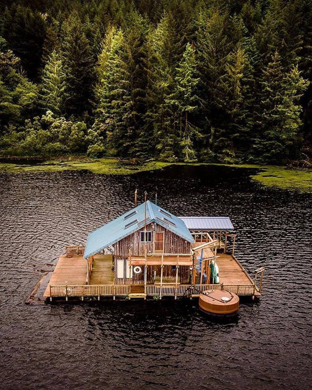 Floating cabin in Ontario, Canada.