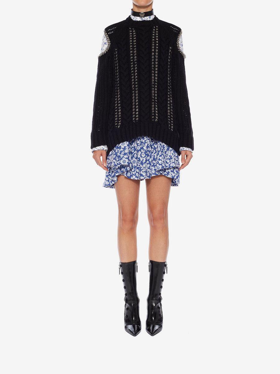 6a451056e7 ALEXANDER MCQUEEN Chain Knit Sweater Jumper Woman r