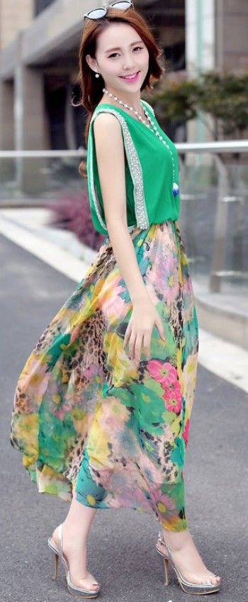 Maxi chiffon summer flower printed dress YRB0688 #summerdresses #maxidress #greendress