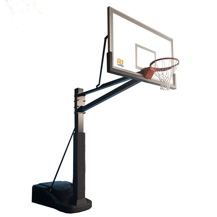 This Portable Basketball System Features Clear Tempered Glass Regulation Backboard Heavy Duty Break Basketball Systems Houston Basketball Basketball Backboard