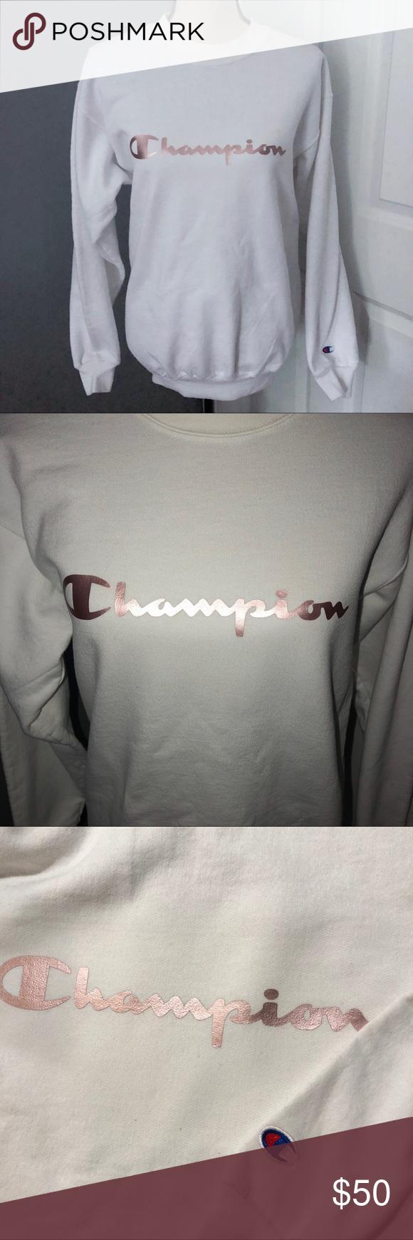 Champions Rose Gold Logo Graphic Sweatshirt Vintage Sweaters Rose Gold Logo Graphic Sweatshirt [ 1740 x 580 Pixel ]