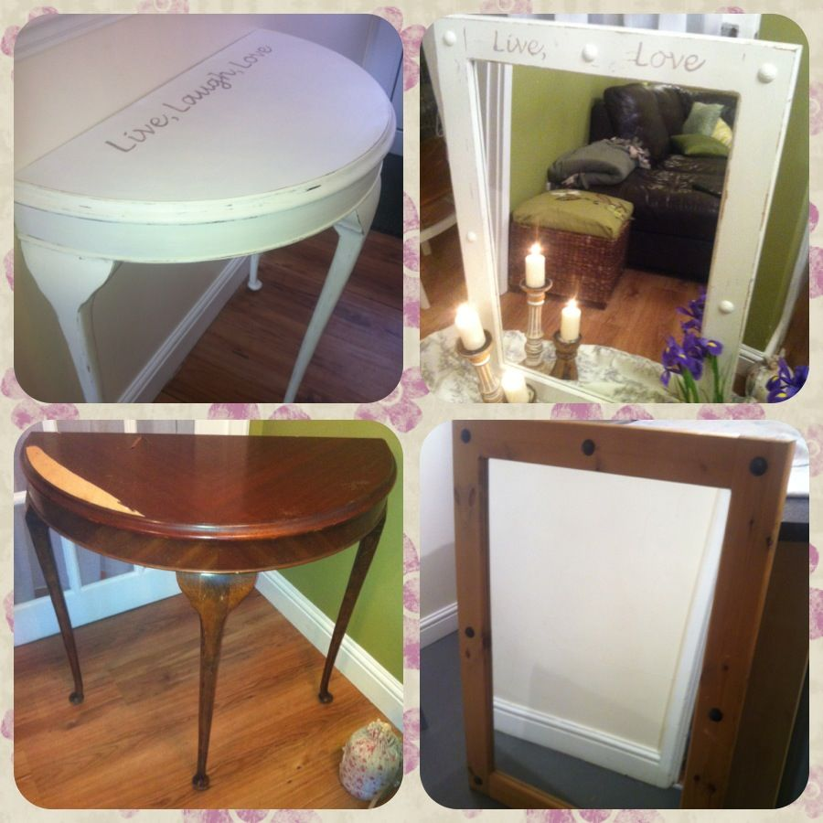 Half Moon Table Mirror Given A New Lease Of Life By Painting It