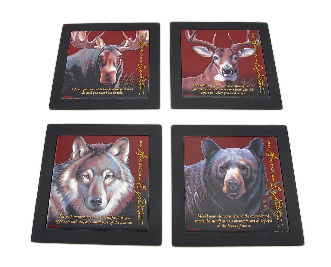 Set of 4 wildlife wood framed ceramic tile trivets or wall set of 4 wildlife wood framed ceramic tile trivets or wall hangings dailygadgetfo Images