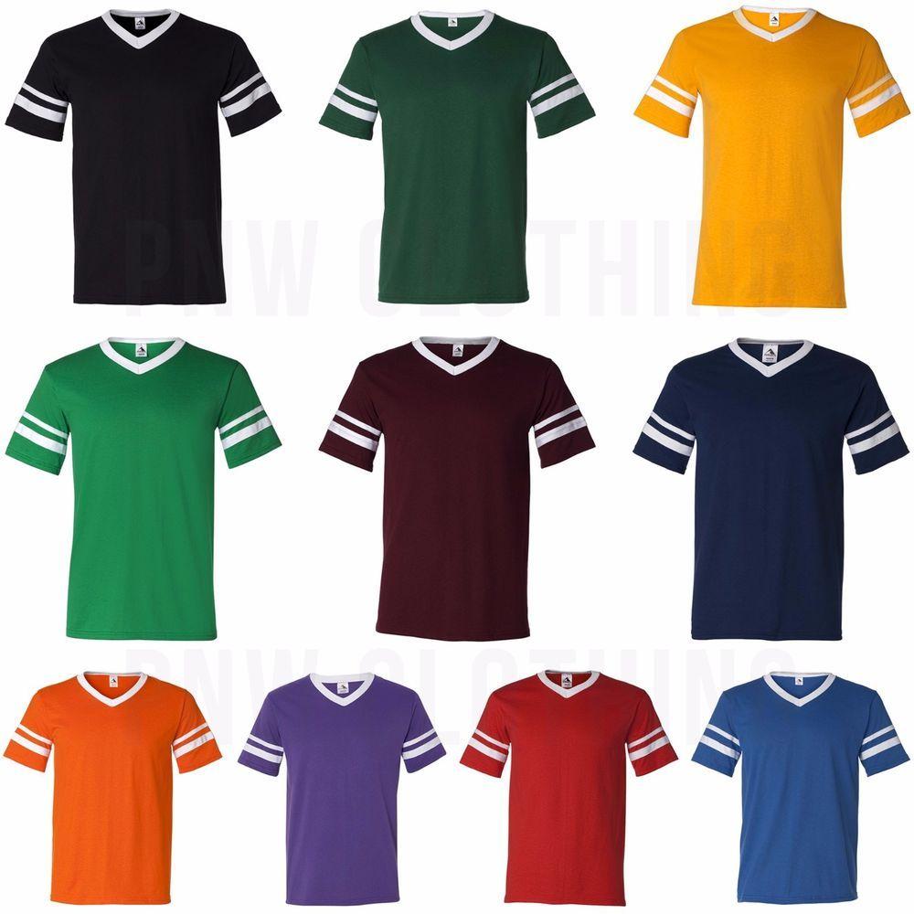 Augusta Mens V Neck Baseball Jersey Striped Sleeves Team Retro T Shirt S 2xl 360