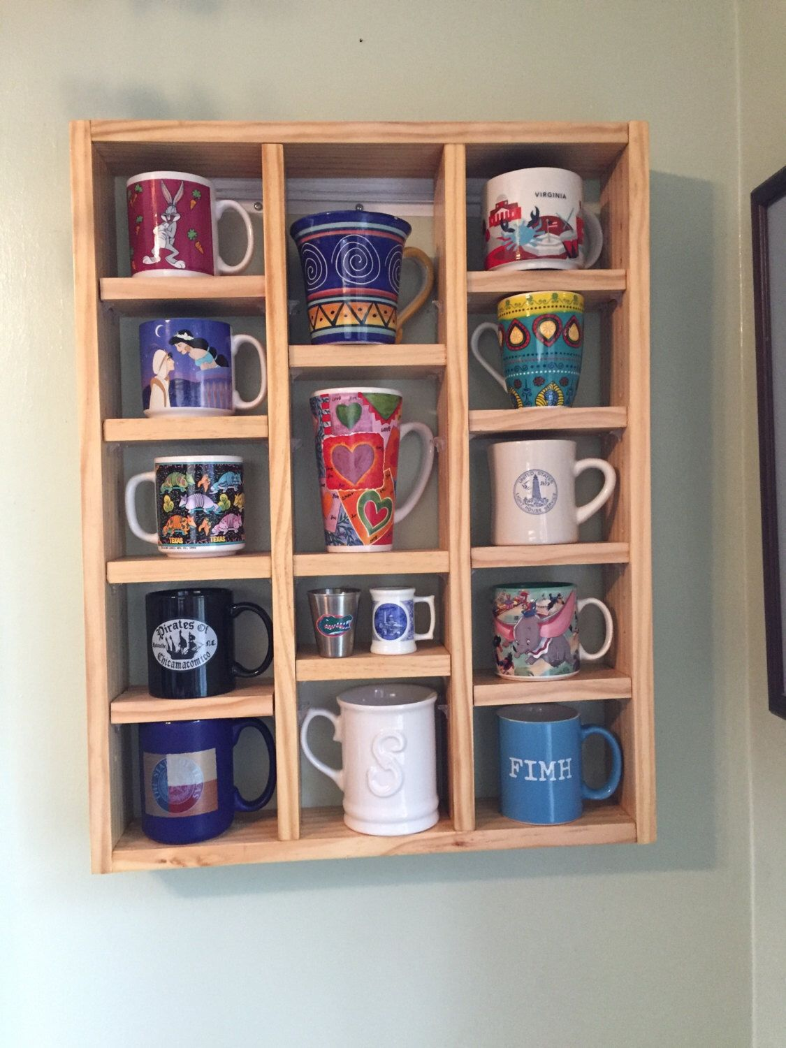 Display shelf for coffee tea mugs by hatchbackdesigns on Etsy s