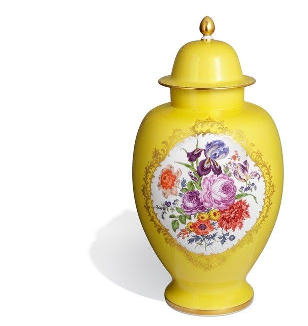"""yellow limoges vase with flowers   Vase with lid """"Flower Bouquet"""", Yellow background, H 63 cm"""