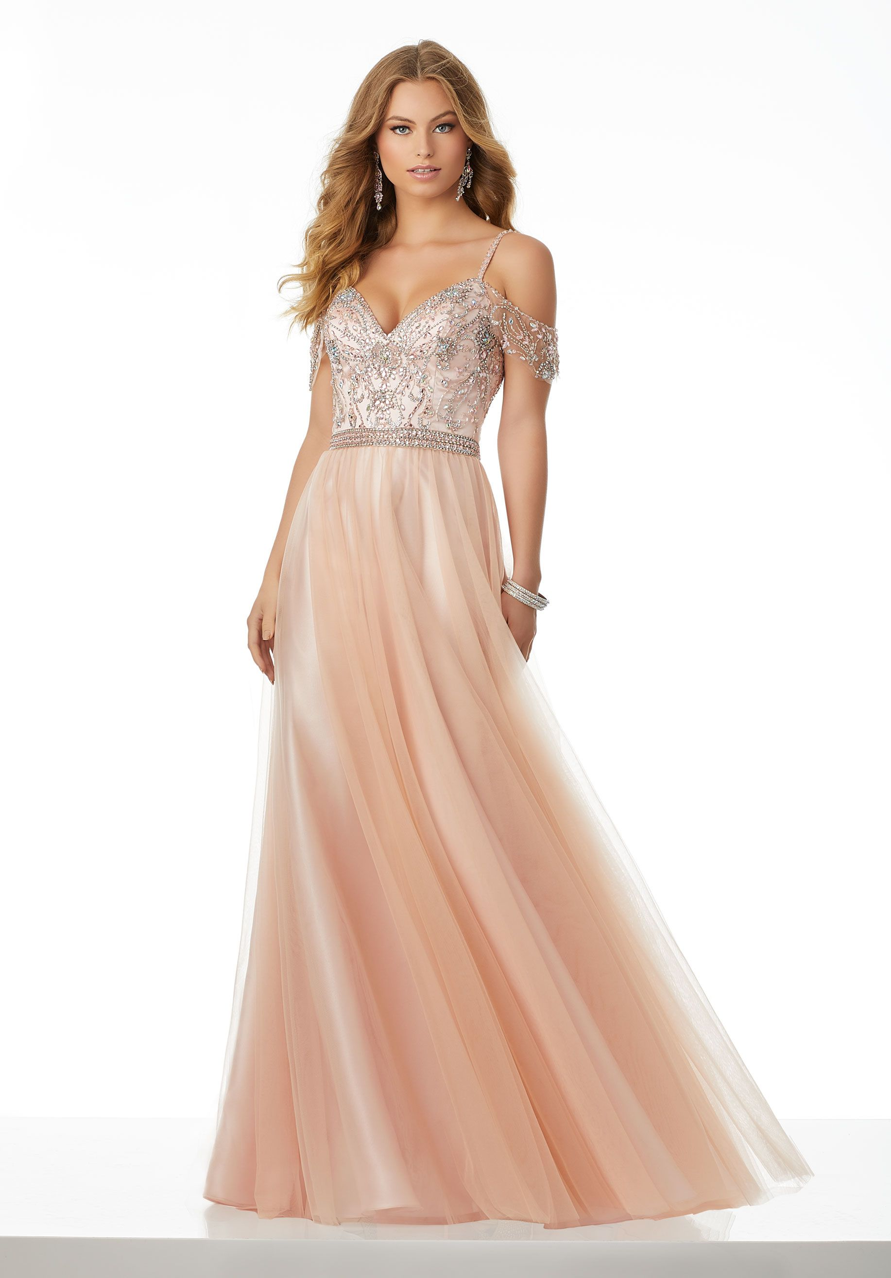 21ab1267c71 Beautifully Beaded Soft Net Prom Gown Featuring a Cold Shoulder Neckline  for a Boho Chic Look.