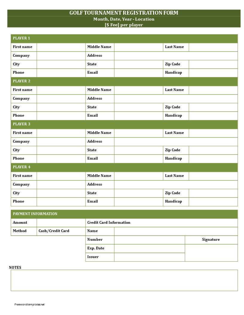 Golf Registration Form  GolfRegistrationFormDocx Easy To