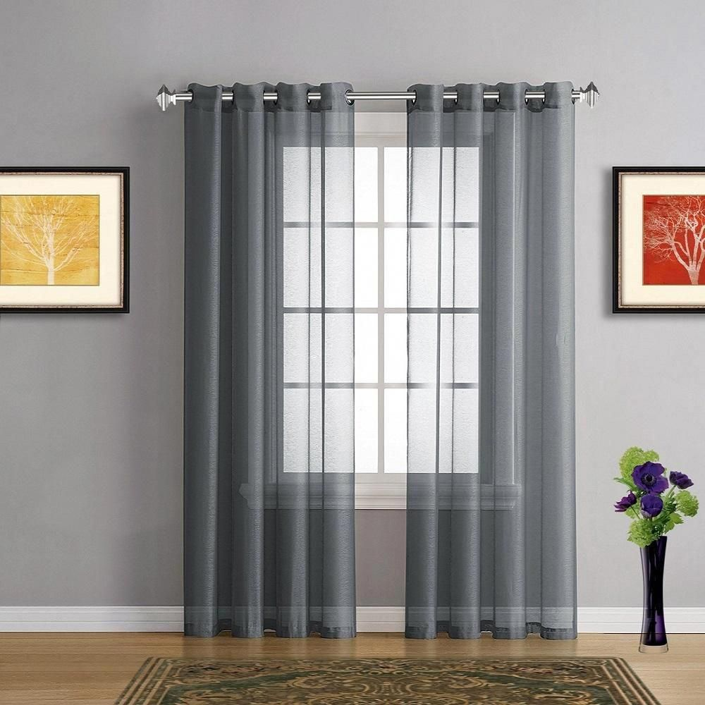 Warm Home Designs Faux Linen Light Charcoal Sheer Curtains