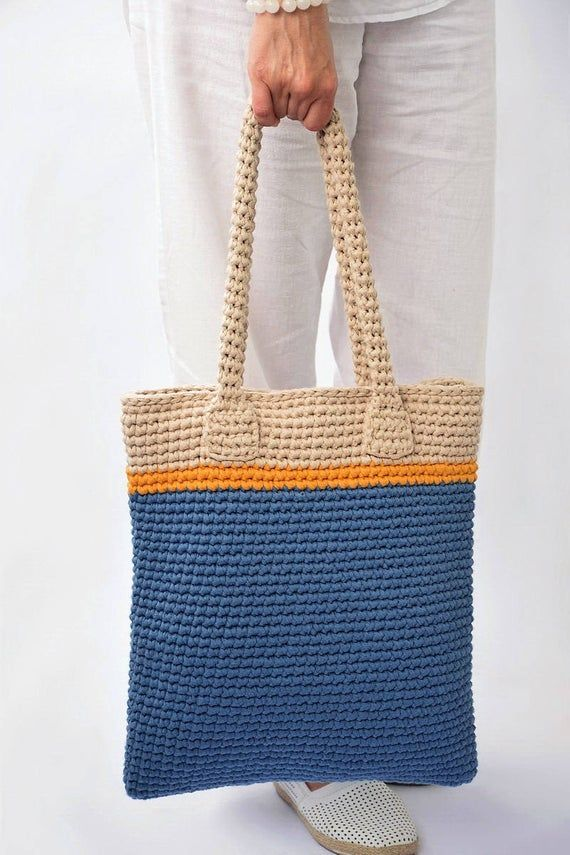 Middle Tote Bag, Crochet Tote Bag, Blue beige hand bag, Blue Summer bag, Boho crochet handbag, geometric style, handmade tote, beach fashion