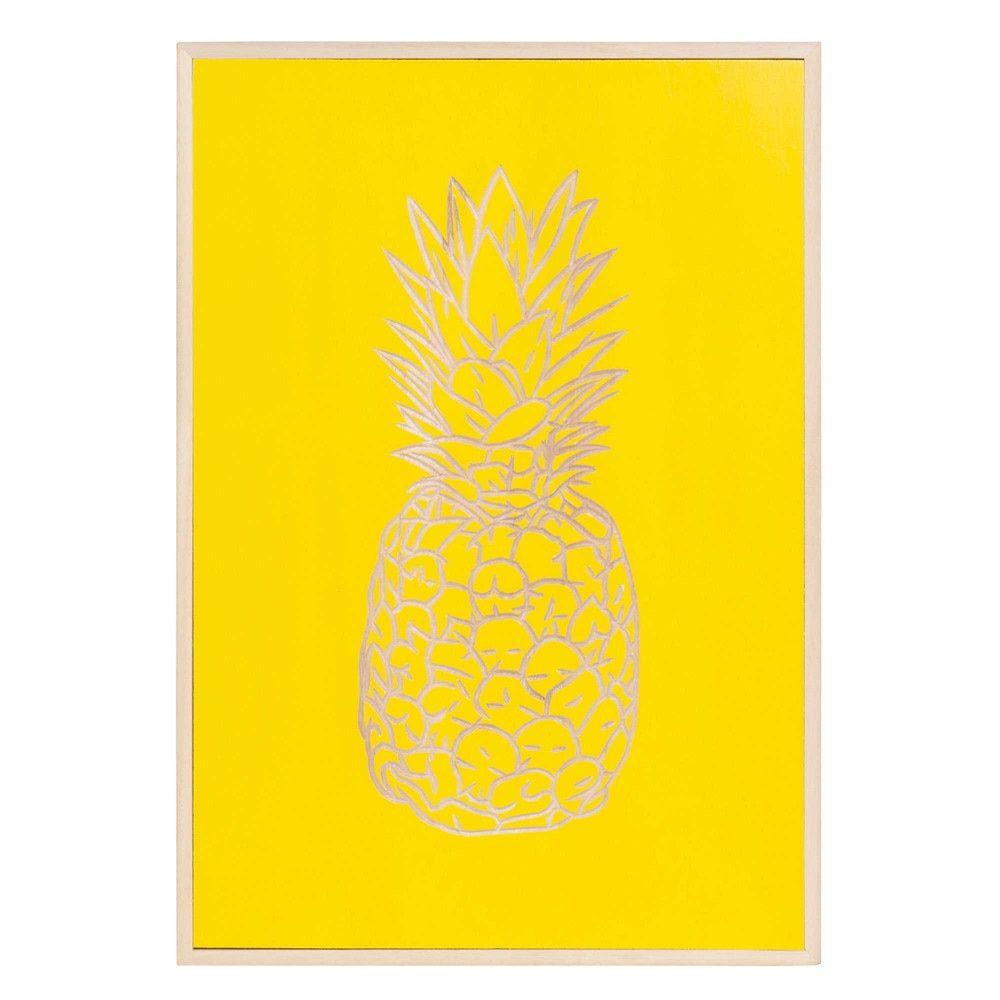 Tableau En Paulownia Jaune Effet Sculpte 50x35cm Pineapple