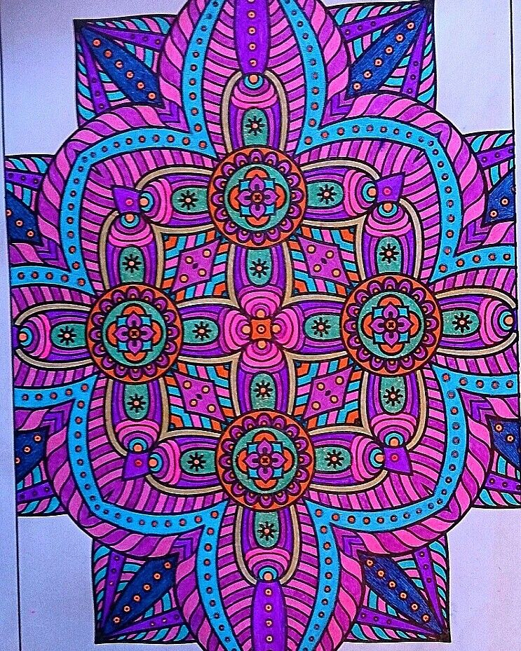 From Mandala Coloring Book Color By Me With Neon Gel Pens My