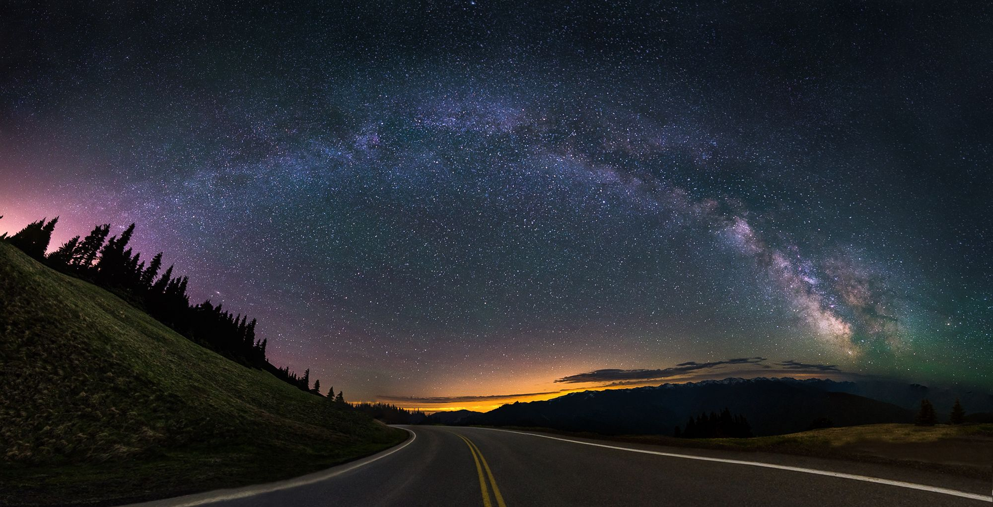 Over the Ridge - My first attempt at a milky way pano. Hurricane Ridge, WA…