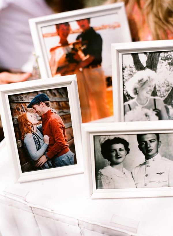 It'd be so cute to include wedding photos from our parents and grandparents on a table somewhere!