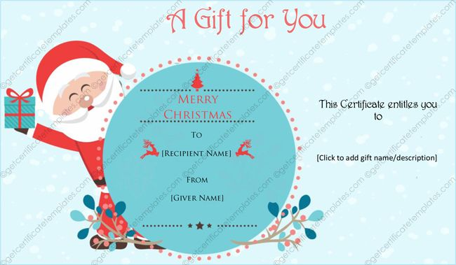 Santa Christmas Gift Certificate Template Gift Card Template Christmas Gift Certificate Template Christmas Card Template