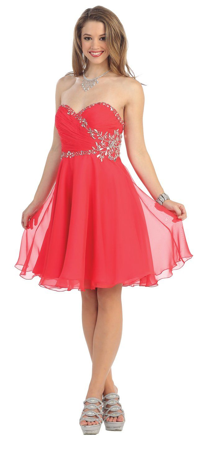 Strapless cocktail party short prom dress coral made in