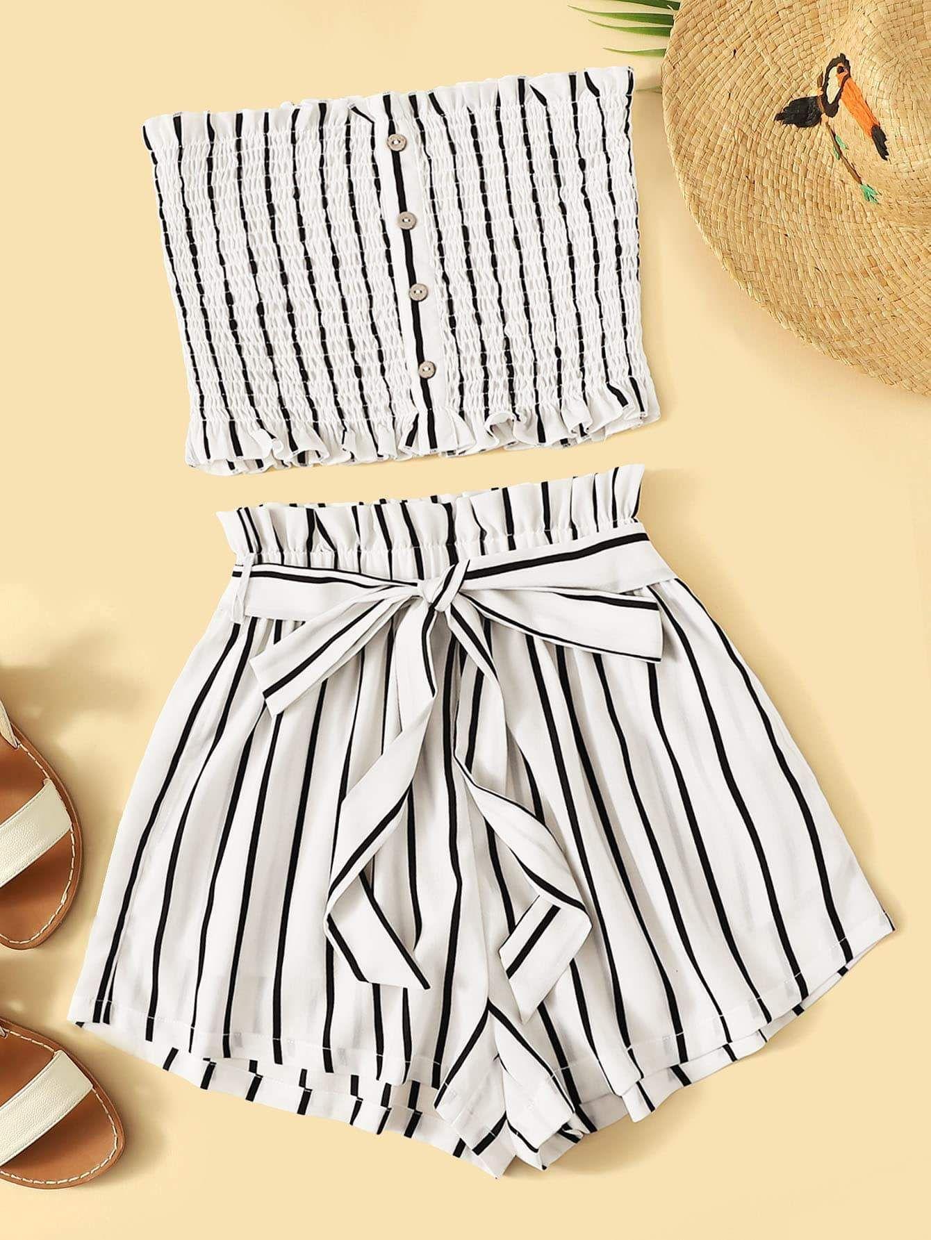 Striped Shirred Bandeau & Paperbag Waist Shorts Set
