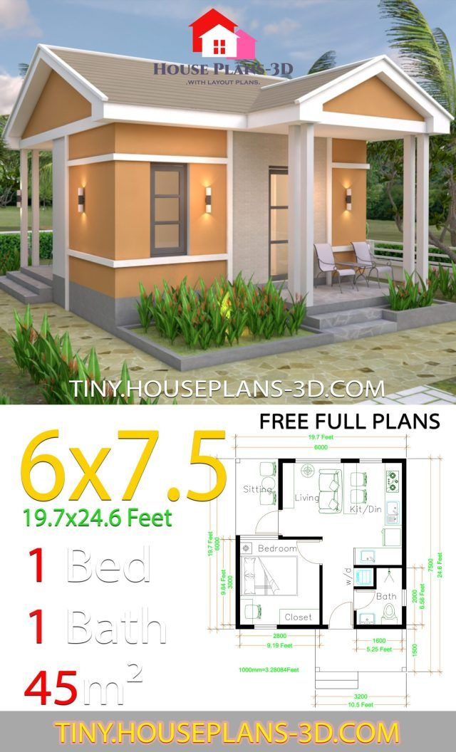 One Bedroom House Plans 6x7 5 With Gable Roof Tiny House Plans One Bedroom House Plans One Bedroom House Tiny House Design
