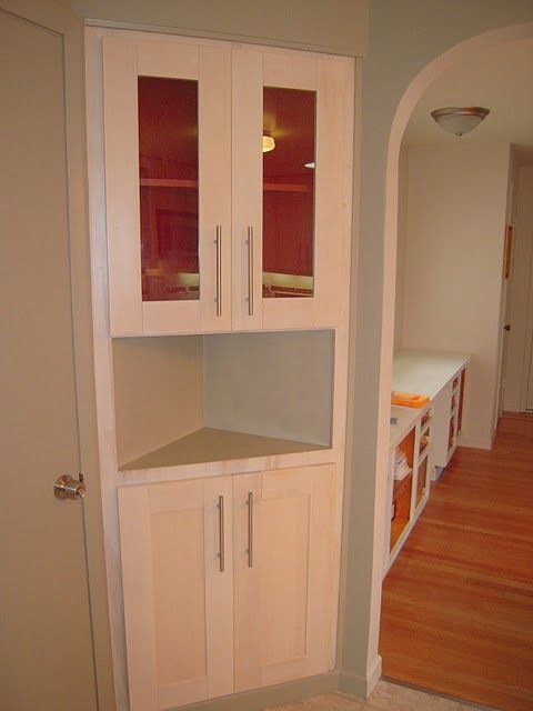 ikea hack on corner cabinet- dining room. | ikea hacks | pinterest