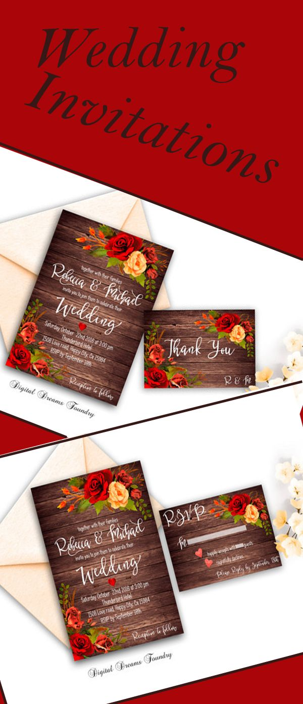 Rustic Fall Wedding Invitation Printable Roses Wedding Invitation ...