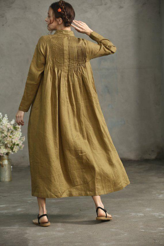 Golden Linen Shirt Dress button down linen dress Drop   Etsy
