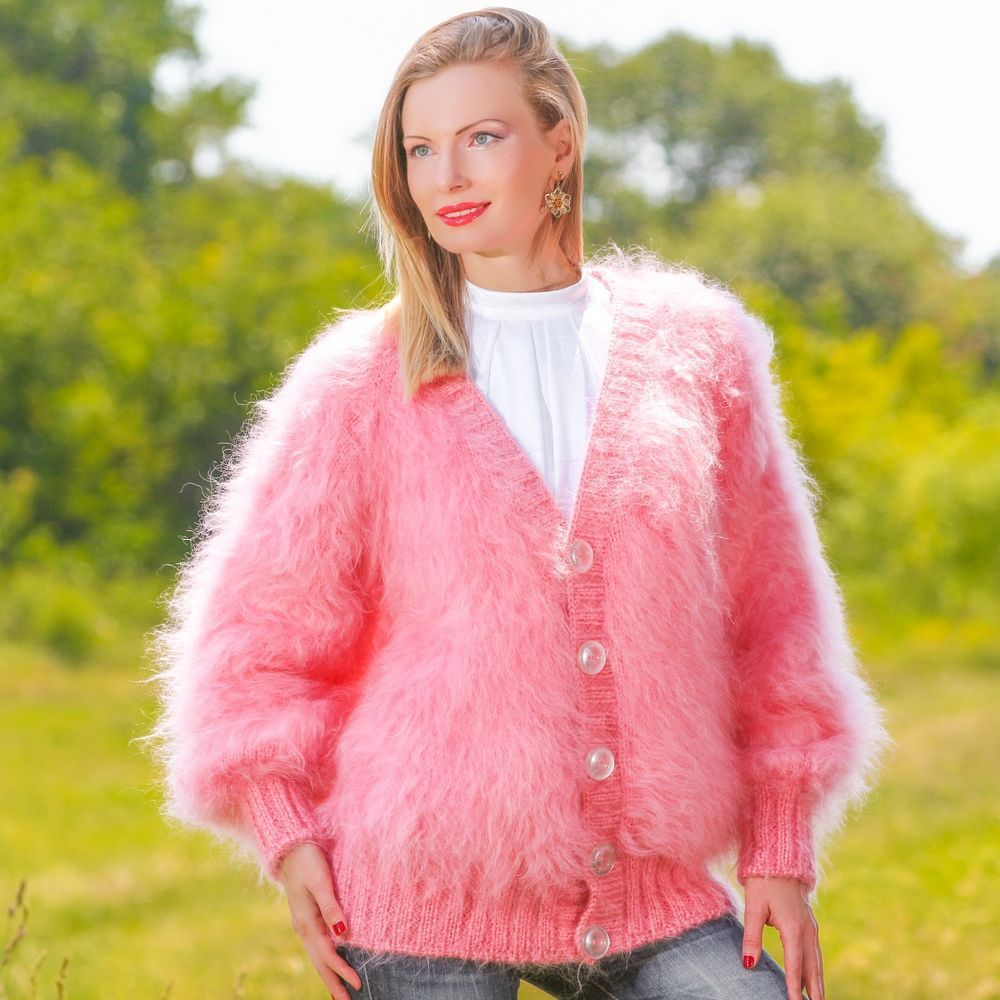 PINK Hand Knitted Sweater Coat Handmade Cardigan Fuzzy V neck ...