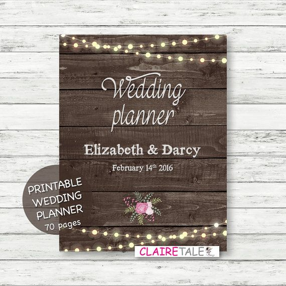 Printable wedding planner on rustic wood background with - sample wedding planning checklist template