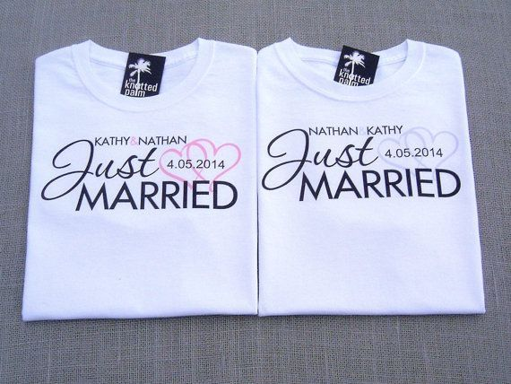 Bride Groom Just Married Hearts Personalized Wedding T Shirts One