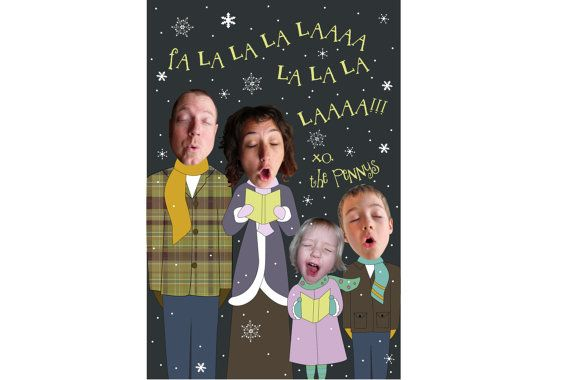 Caroling Family Photo New Year Card  by LittleAndTheGirl on Etsy, $35.00