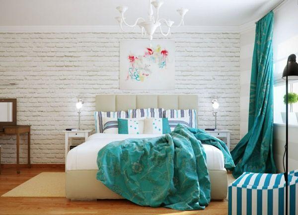 Zimmerfarben Farbideen Schlafzimmer Wandfarbe Türkis