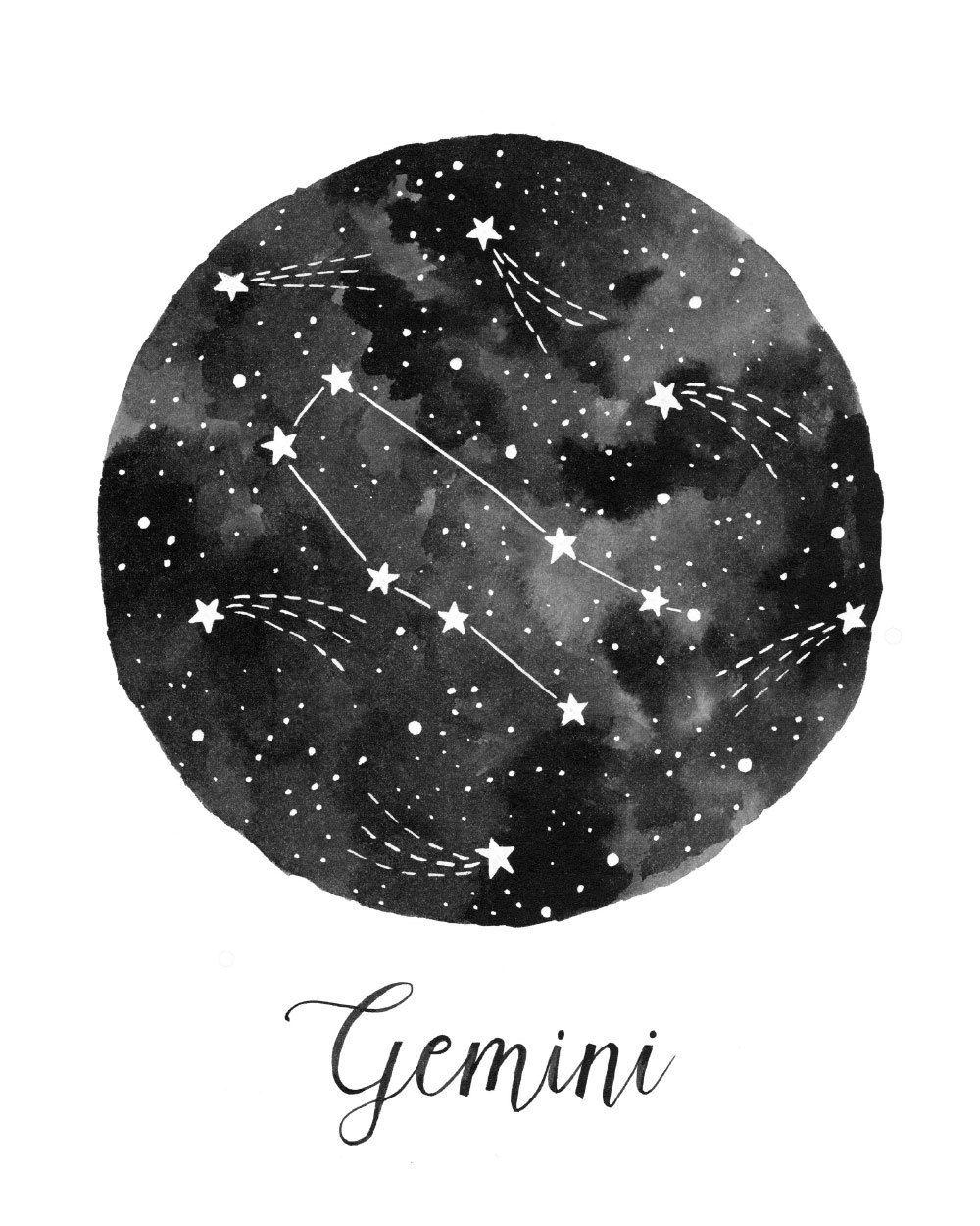 Gemini Constellation Illustration Vertical by fercute on Etsy