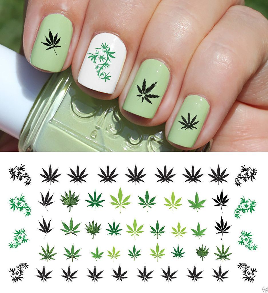 Marijuana Pot Leaf Nail Art Decals Set #2
