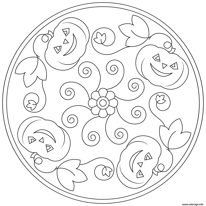 Coloring Halloween Mandala Easy Pumpkin Simple drawing