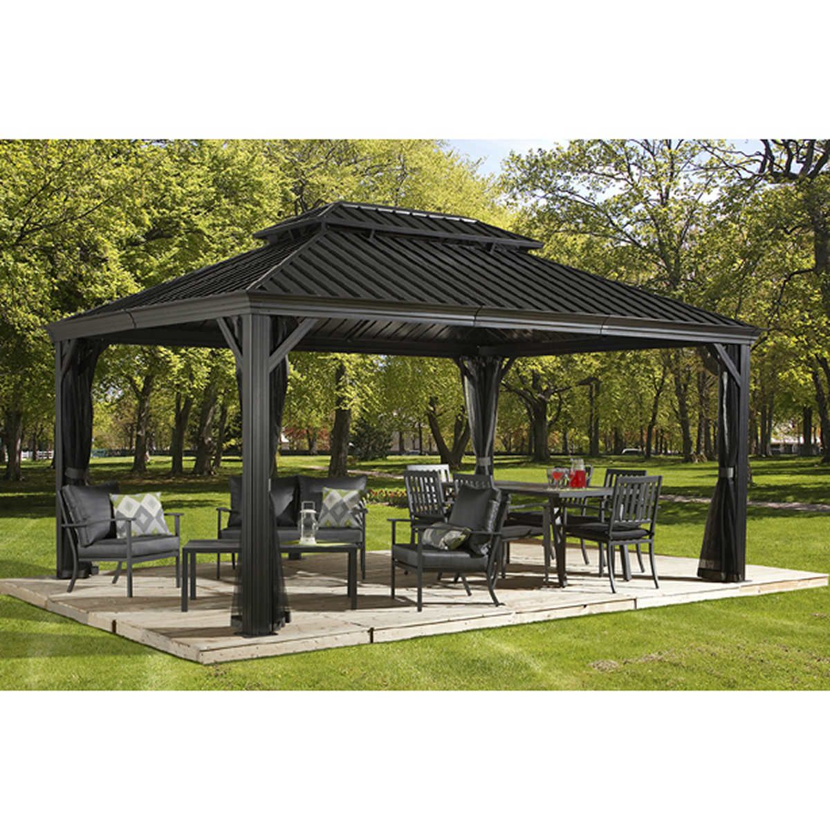 Messina Galvanized Steel Roof Sun Shelter In Dark Gray Hardtop Gazebo Patio Gazebo Pergola Patio