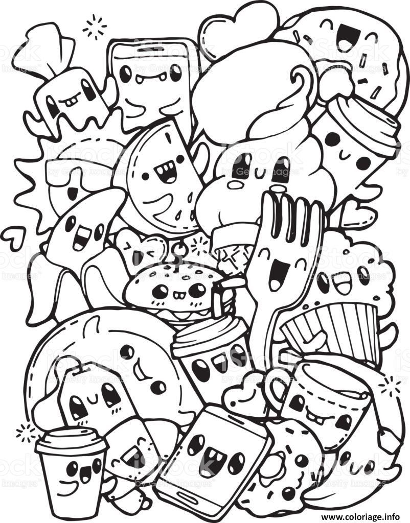 Coloriage Kawaii Pretty Food And Cute Dessin à Imprimer En
