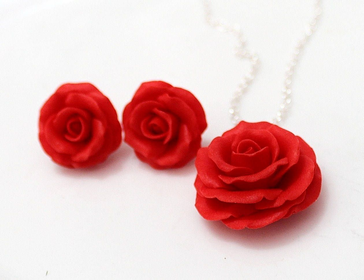 Set Red Rose Necklace And Earrings Red Flower Necklace Red Rose Necklace Red Rose Earrings Wedding Red Flower Necklace Red Flower Earrings Flower Jewellery