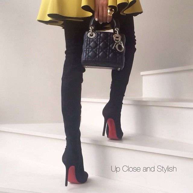new product 9b2c7 aef79 Up Close and tonight - #HM skirt, #Louboutin suede thigh ...