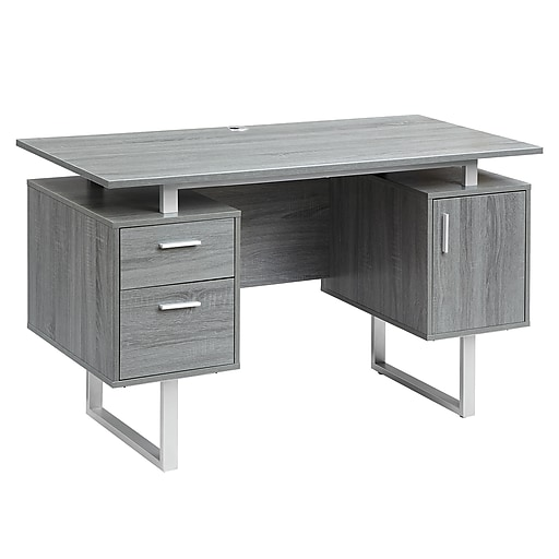 Techni Mobili Modern Office Desk With Storage Gray Rta 7002 Gry At Staples In 2020 Grey Office Desk Modern Office Desk Modern Desk