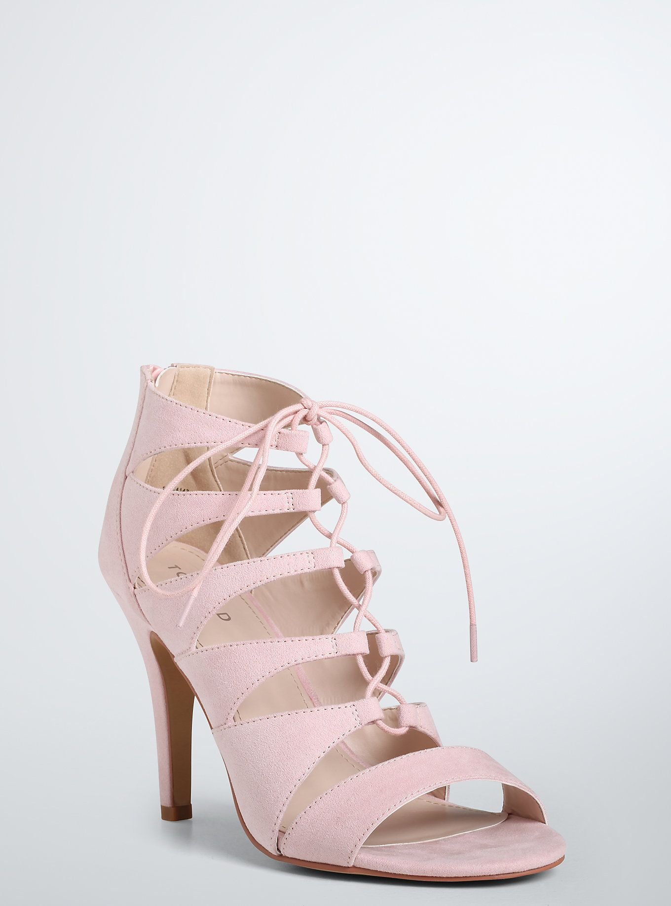 Lace Up Peep Toe Heels (Wide Width) | Torrid, Peep toe heels and Mauve
