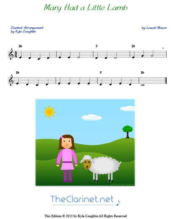 Mary Had A Little Lamb For Clarinet With Images Clarinet