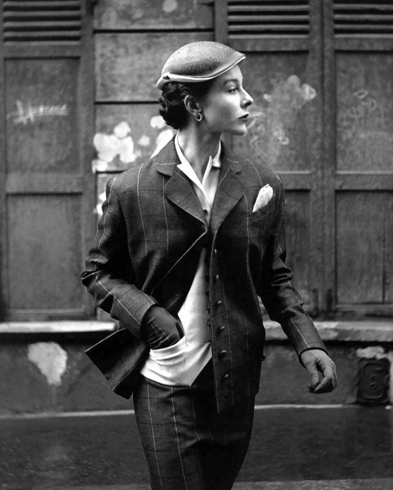 """Bettina Graziani (in a suit by Lucille Manguin) photographed by Georges Dambier for """"Elle"""" - March 1953"""