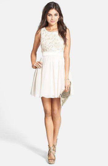 ALL WHITE - FLOWER GIRL  a. drea Rosette Bodice Skater Dress (Juniors)  available at  Nordstrom d11bac80e