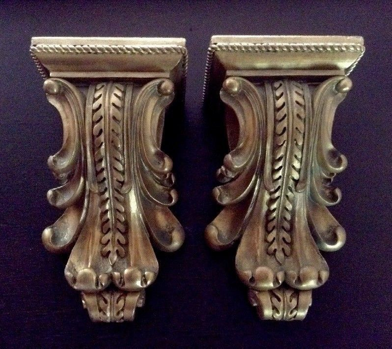 Pair Of Pretty Curtain Rod Sconces French Vintage Style With