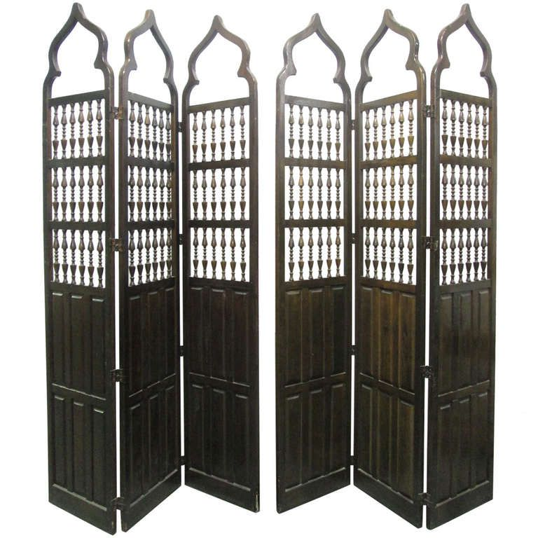 pair moroccan style wood room dividers screens