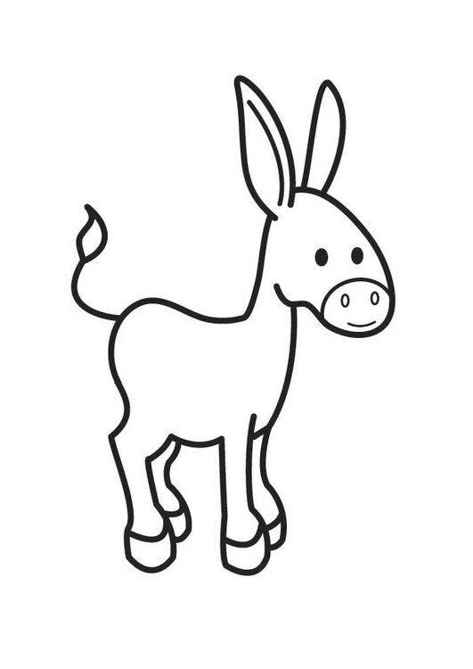 Dibujo para colorear burro   niños   Pinterest
