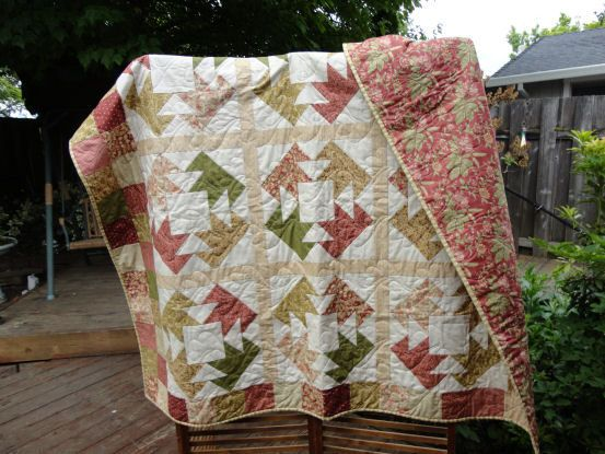 BearClaw Quilt in Mauve Tan Green Quilt by WillowRidgeQuilts, $130.00