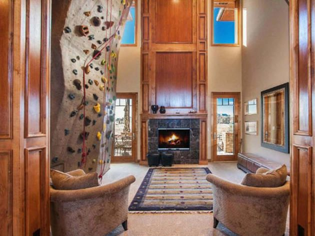 The Ultimate Rainy Day Fun Living Room Features A 25 Ft World Class Climbing Wall This Will Be In My Future Home